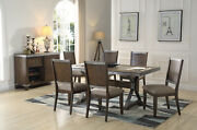 5pc Or 7pc Dining Set Transitional Dard Oak W/marble Rect Table Top And Side Chair