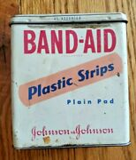 Vintage Johnson And Johnson Band-aid Plastic Strips Tin Container