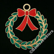 Vintage 14k Gold Christmas Wreath Green And Red Enamel Collectible Charm Pendant