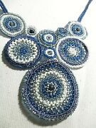 18 Tiny Pearl And Blue And White Bead Costume Jewery Necklace