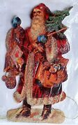 Victorian Scraps Die Cut Large Santa With Toys And Gifts Tinsel Christmas Ornament