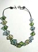 16 Multicolor Frosty Glass Bead Costume Jewery Necklace W Black Accents