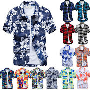 Mens Hawaiian Aloha Shirts Summer Beach Holiday Casual T Shirt Work Top Blouse
