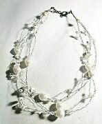 16 Multi Wire Strand Faux Pearl Bead Costume Jewery Necklace W Sequin Accents