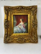 Antique Old Canvas Oil Painting Of English Woman With Gold Victorian Frame Rare