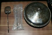 Used Silver Plated Serving Bowl And Lid W/ Tong / Spatula Tong Set