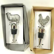 Pewter Finish Rooster And Cow Bottle Stoppers Modern Farm House