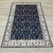 Yilong 4and039x6and039 Blue All-over Handknotted Silk Carpet Floral Home Indoor Rug Y267b