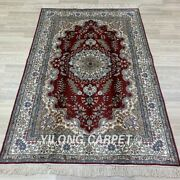 Yilong 4and039x6and039 Handmade Silk Rug Red Home Indoor Oriental Classic Carpet Y269b