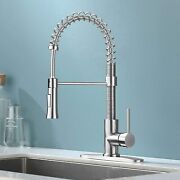 Kingo Home Lead Free Commercial Farmhouse Pull Down Sprayer Brushed Nickel Stain