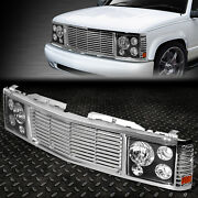 For 94-00 Chevy Gmc C/k 1500-3500 Black Headlight+chrome Rover Grille Conversion