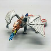 Papo Toys 2007 Dragon With Saddle Silver And Red Plastic Height 4 Length 11