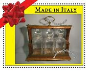 Antique Tantalus Decanter Set Vintage Italian In Wood Crate Hand-blown Glass Vtg