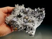 Large Needle Quartz Crystal Cluster With Bright Silver Galena
