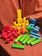 Lot Of 47 Vintage Of Painted Wooden Childrens Building Blocks Old Kids Game Toy
