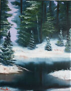 Original Landscape Oil Painting On Canvas 8x10 From Artist Winter Forest Lake