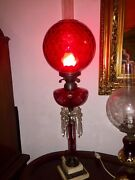 Large Beautiful And One Of A Kind Antique Victorian Fenton Cranberry Oil Lamp