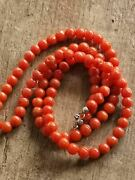 Real, Antique, Natural Old Red Coral. Women's Necklace. Silver Carbine.