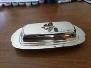Vintage Oneida Silversmiths Silverplate Butter Dish W/ Glass Liner Floral Knob