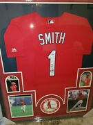 Ozzie Smith Signed Framed And Authenticated Jersey