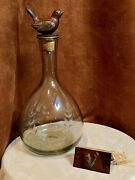 Jan Barboglio Large Glass Decanter W Laurel Wreath Etching And Iron Bird Stopper