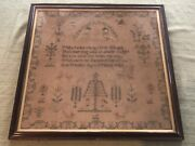 Large Antique English Linen Needlework Sampler 1840 Ann Whalley Aged 9 Years