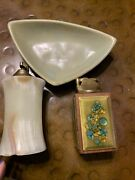 Lot 3 Pcs Vintage Mid Century Table Lighters And Ashtray