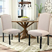 Dining Chairs Set Of 2 Upholstered Padded Tufted Linen Kitchen Parson Chairs