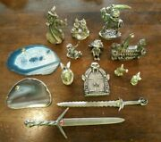 Lot Of 12 Miniature Medieval/fantasy/wizard/sword Pewter Figurines--spoontiques