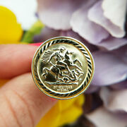 Solid 9ct Yellow Gold St George Ring   2.1cm Half Sovereign Size   Men's Women's