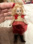 Antique All Bisque French Mignonette Black Stockinged Doll 13.5 Cm
