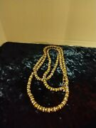 Vintage Judith Leiber Copper Tone Faceted Beads And Crystal Roundels 60 Necklace