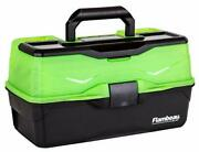 Large Fishing Tackle Box With 3 Tray Full Travel Holder Pack Handle-lockin Green