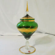 Vintage Green Venetian Glass Pedestal Lidded Candy Dish W/ Gold Trim Made Italy