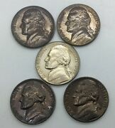 1959 Black Beauty Nickel Lot Of 4 Coins From Roll Improper Annealing Errors