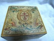 """Antique French Trinket Box Wood Mache Gesso Hand Painted 4"""" Square"""