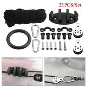 21pcs Anchor Trolley Kit Rope Cleat Pulley Block Rigging Ring For Kayak Canoe