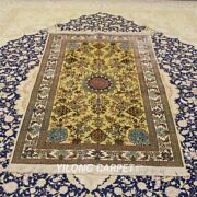 Yilong 3.5and039x5.75and039 Golden Silk Tapestry Antique Handmade Oriental Area Rug 311h
