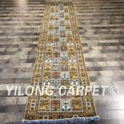 Yilong 2.5and039x12and039 Handknotted Four Seasons Silk Kitchen Rug Runner Hallway Zw104c