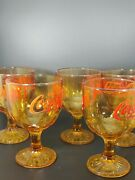 5 Vintage Coca-cola Coke Goblet Amber Yellow Glasses With Red Lettering