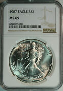1987 Silver Eagle Ngc Ms69 / 2nd Year / .999 Pure One Troy Ounce / No Milk Spots