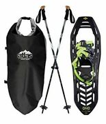 Atlas Helium Trail 23 Kit Snowshoes Black With Green Includes Bag And Two Poles