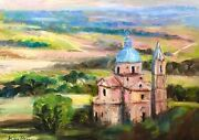 Listed Nino Pippa Original Oil Painting Tuscany Country Church Renoir Interest