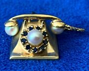 Vintage 14k Yellow Gold Rotary Phone Charm Pendant W/ Sapphire And Pearl