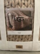 Ugg Calla Almond Thick Heavy Knit Woven Throw Blanket Cover Chunky Brown Beige