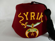 Vintage Shriner's Masonic Hat Fez W/ Pin And Tassel, Syria, Harry M Osers Usa