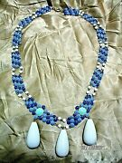 New Banana Republic 18 Blue And White Enamel And Bead Costume Jewery Necklace