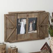 Rustic Barn Door Style Photo Frame With 2 Picture Slots - Farmhouse Accent