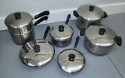 Revere Ware 13 Piece Vintage 1801 Copper Bottom Cookware Set Usa. All With Lids