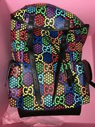 Psychedelic Black Gg Medium Supreme Italy Travel Backpack 1 New